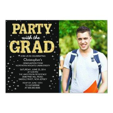 Modern Gold Glitter Photo Graduation Party Invite