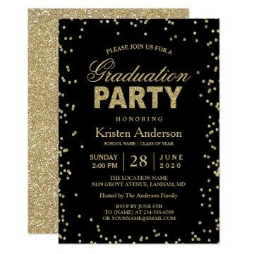 Modern Gold Glitter Sparkles Graduation Party