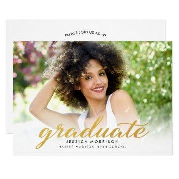 Modern Gold Script 2021 Graduation Announcement
