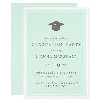 Modern Grad Cap and frame Mint Graduation Invitation