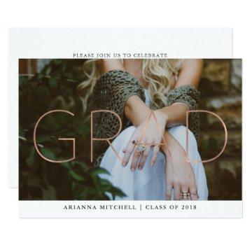 Modern Grad Faux Rose Gold Photo Graduation Party Card