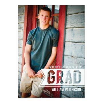 Modern Grad Guy Photo Graduation Party Invitation