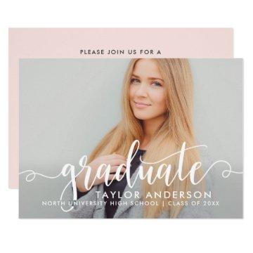 Modern Graduate White Script Graduation Photo Invitation