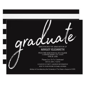 Modern Graduation Announcement with Bold Stripes