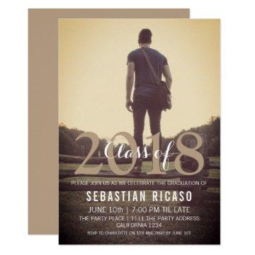 Modern Graduation Class of Personalized - Taupe Invitation