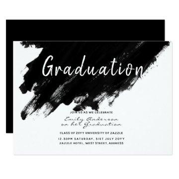 Modern Graduation Invites - Paint black white
