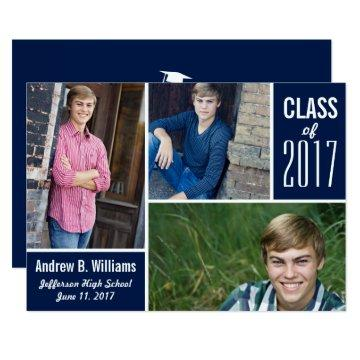 Modern Graduation Photo Collage Class of 2017 Blue Card