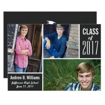 Modern Graduation Photo Collage Class of 2017 Card