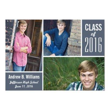 Modern Graduation Photo Collage Class of 2018 Card