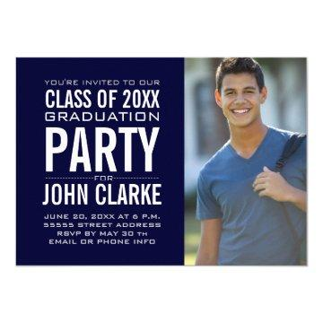 Modern Male Grad | Navy Blue Graduation Party Invitation