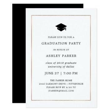 Modern Minimal | Faux Rose Gold Border Grad Party Card