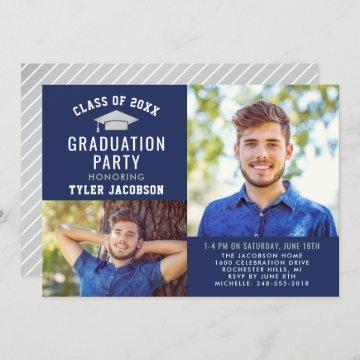 Modern Navy and Silver Graduation Party Photo Invitation