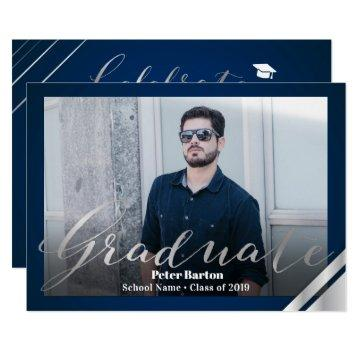 Modern Navy Blue Silver Script Photo Grad Party Invitation