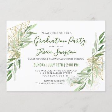 Modern Olive Branch Greenery Graduation Party Invitation