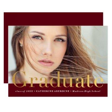 Modern photo graduation  faux foil