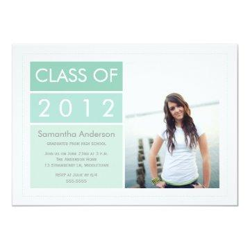 Modern Photo Graduation Invitation - Mint
