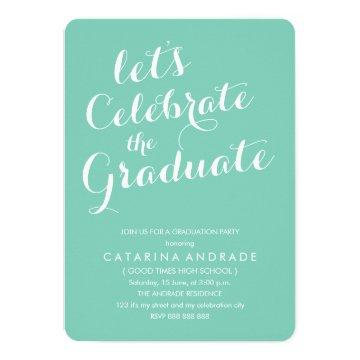 Modern Photo Graduation Party Aqua White Invitation