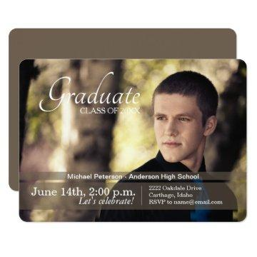 Modern Photo Taupe Graduation Party Invitation