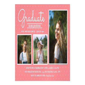 Modern Pink 3 Photo Graduation Party Announcement