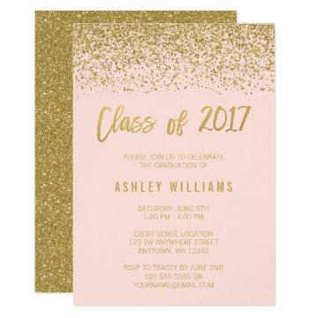 Modern Pink Faux Gold Glitter 2017 Graduation Card