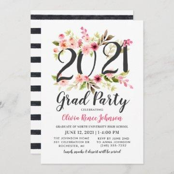 Modern Pink Floral 2021 Grad Party Graduation Invitation