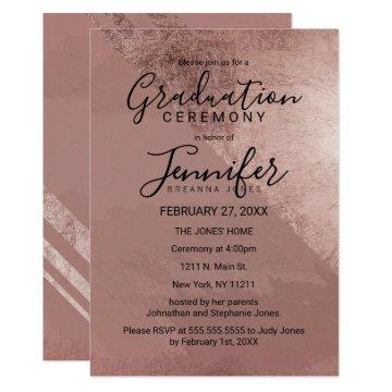 Modern Rose Gold Faux Foil Triangle Graduation