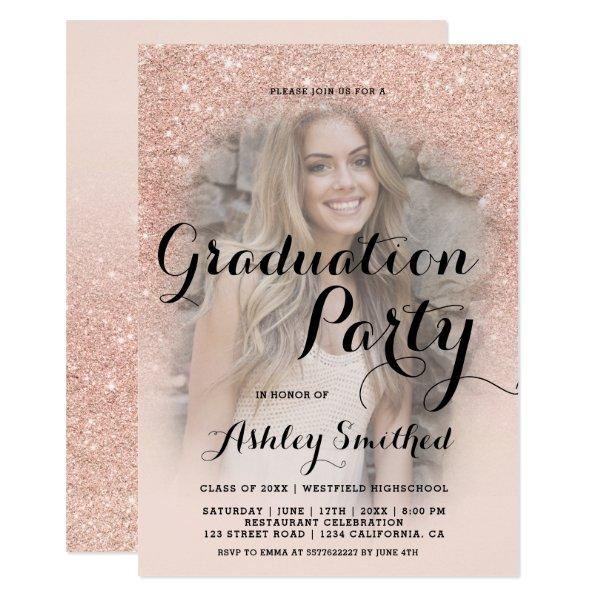 Modern rose gold glitter ombre photo graduation card