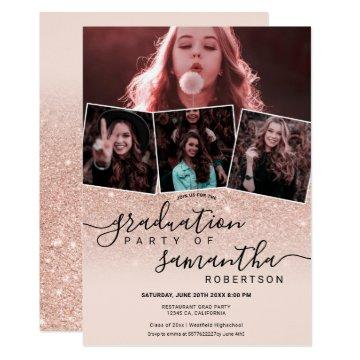 Modern rose gold glitter script 4 photo graduation invitation