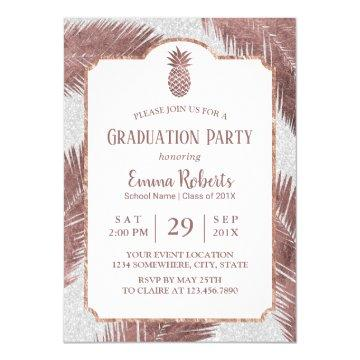 Modern Rose Gold Pineapple Luau Graduation Party