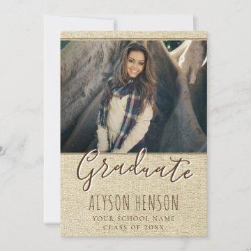 Modern Rustic Photo Graduation Announcement Card