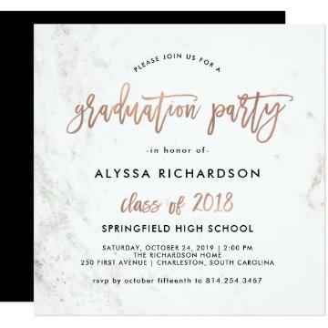 Modern Script   Marble Graduation Party Rose Gold Card