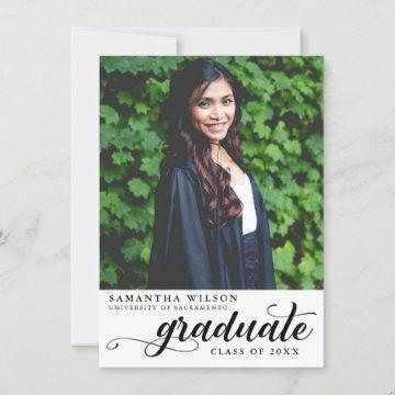Modern Script Photo Graduation Announcement