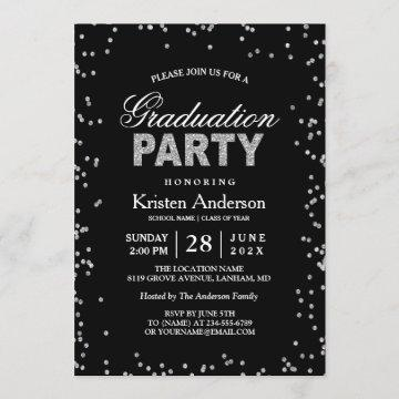 Modern Silver Glitter Sparkles Graduation Party Invitation