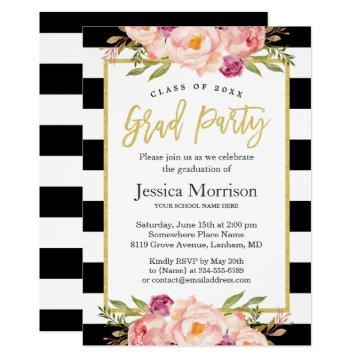 Modern Stripes Floral Gold Script Graduation Party Invitation