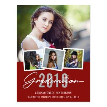 Modern Stylish Graduation Class of 2019 4 Photo Postcard