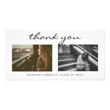 Modern Thank You Graduate Photo Collage Card