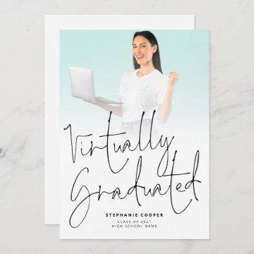 Modern Virtually Graduated Script Photo Graduation Announcement