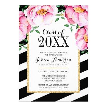 Modern Watercolor Floral Stripes Graduation Party Card