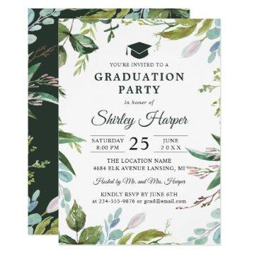 Modern Watercolor Greenery Floral Graduation Party