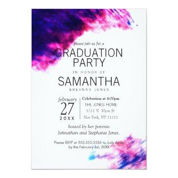 Modern Watercolor Smudges Graduation Party Invites