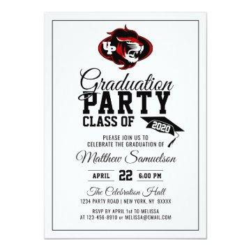 Modern White School GRADUATION Party | add LOGO Invitation