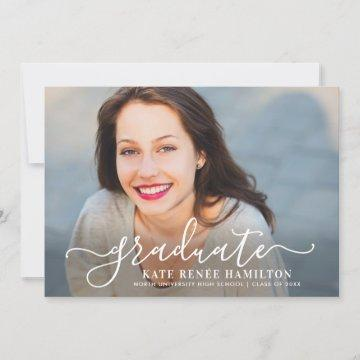 Modern White Script Graduate Photo Graduation Invitation