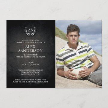 Monogram and Silver Laurel Wreath Graduation Invitation