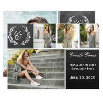 Monogram Chalkboard Graduation Invite