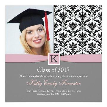 Monogram Damask black white Graduation Party Card