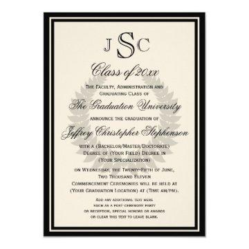 Monogram Laurel Classic College Graduation Invitation