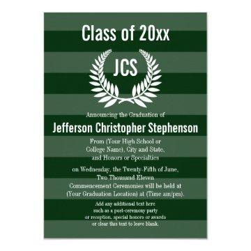 Monogram Laurel Masculine Green Graduation Invitation