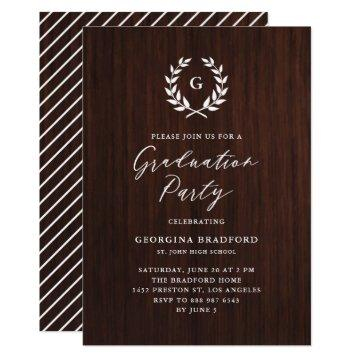 Monogram Laurel Wreath Rustic Wood Graduation Invitation