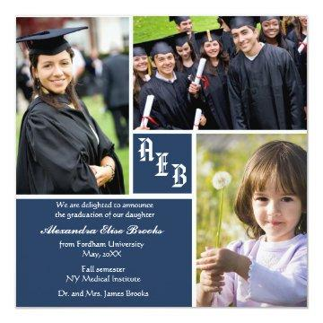 Monogram Square - Photo Graduation Announcement
