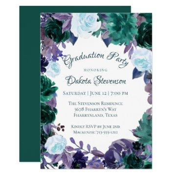 Moody Boho | Dark Green Purple Floral Graduation
